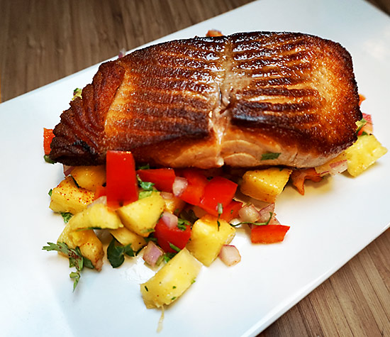 Salmon With Pineapple-Pomegranate Salsa Recipe — Dishmaps