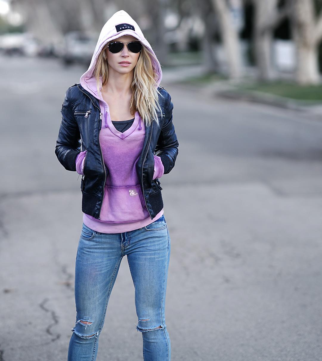 purple-hoody-black-leather-jacket