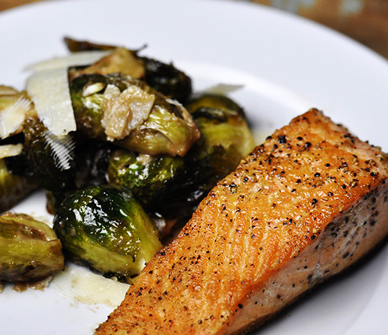 Pan Seared Salmon with Roasted Brussels Sprouts-f