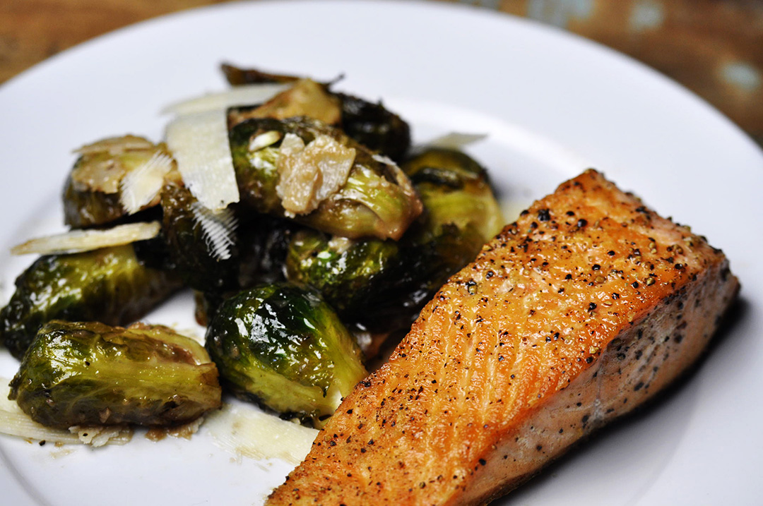 Pan Seared Salmon with Roasted Brussels Sprouts-post